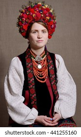 The young woman is wearing a Ukrainian traditional garment of wedding.