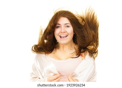 Young woman wearing underwear, face without makeup with blowing long brown hair. Natural beauty. Purity skincare spa treatment.