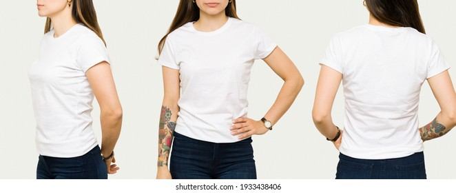 Young woman wearing a white casual t-shirt. Side view, behind and front view of a mock up t-shirt for design print