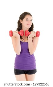 Young woman weight training.