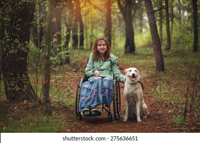 Young woman in a wheelchair with the white seeing eye dog in spring forest