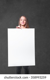 young woman with a white billboard