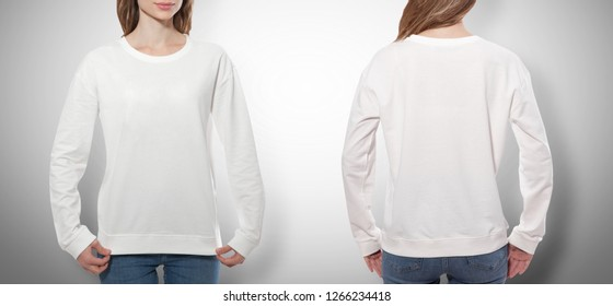 young woman in white sweatshirt, white hoodies front and rear isolated on grey background. mock up