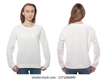 young woman in white sweatshirt, white hoodies front and rear isolated on white background. mock up