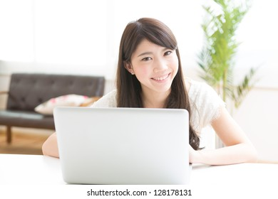 The Young woman who uses the computer in a room