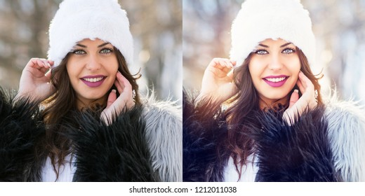 Young woman winter portrait without and with filter. No retouch and retouched version of the same photo side by side