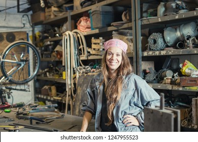 young woman worker in a workshop