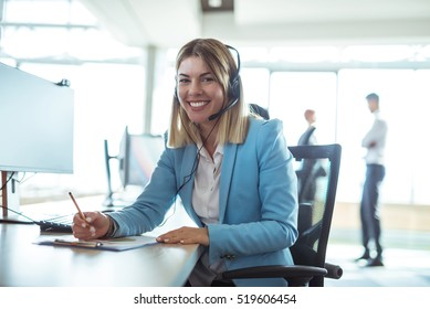 Young woman working in a call center.