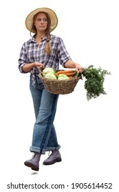 Young woman working at a farm walking and carrying a vegetable basket, isolated on white background