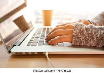 Young woman working at the modern laptop