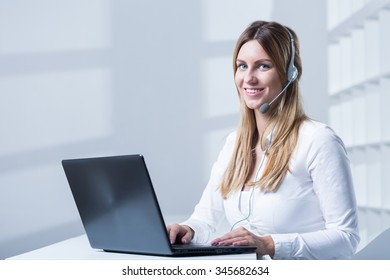 Young woman is working in modern office