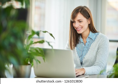 Young woman working in office on the laptop