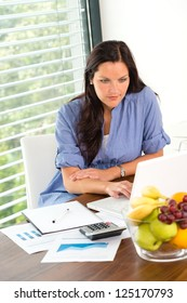 Young woman working using laptop studying office internet business