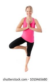 young woman working yoga exercise
