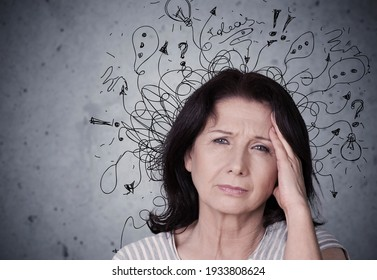 Young woman with worried stressed face expression with illustration