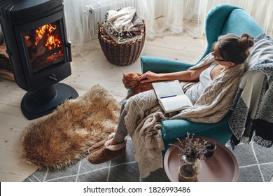 Young woman write in a notebook sitting in a cozy armchair by the fireplace with a domestic cat