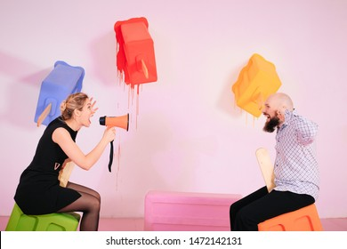 Young woman yelling at boyfriend in hysterics, drama queen screaming loud shouting at husband trying to get attention, having a tantrum, lack of emotional intelligence, manipulation in relationships