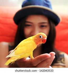 young woman with yellow bird on the hand