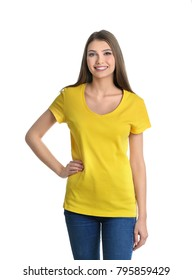 Young woman in yellow t-shirt on white background. Mockup for design