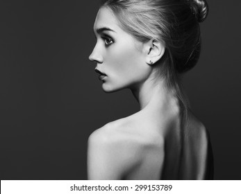 Young woman.Beautiful Girl.close-up fashion monochrome portrait