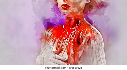 Young woman's body covered with a blood.  Digital watercolor painting.