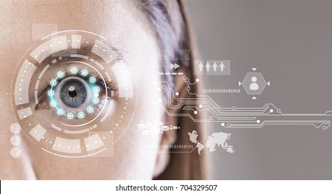 Young woman's eye and high-tech concept, augmented reality display, Iris verification, wearable computing
