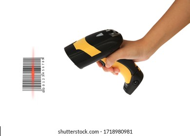 Young woman's hand hold Barcode Scanner for stock receiver