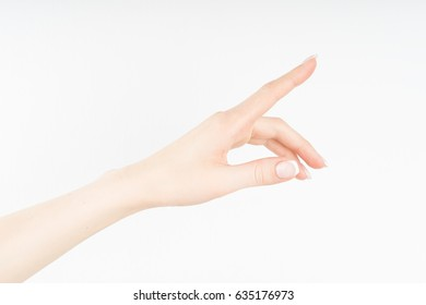 Young woman's hand pointing or pushing with straight index finger  isolated on white background