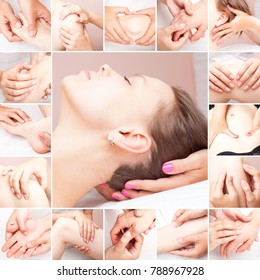 Young woman's neck, foot finger, knee, hand, thumb, elbow, shoulder, chest, head and foot are manipulated by an osteopathic manual therapist or physician  collage