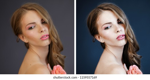 Young woman's portrait before and after