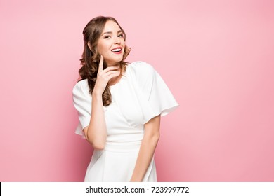 The young woman's portrait with happy emotions