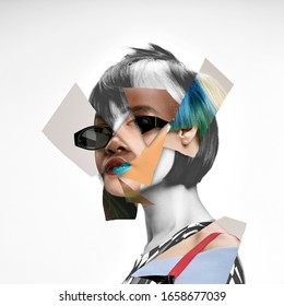 Young woman's portrait made of different pieces of faces, modern art collage. New vision of beauty and fashion, make up, hairstyle. Modern style, contemporary view of emotions, feelings.