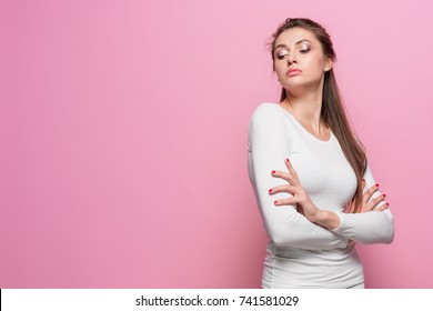 The young woman's portrait with proud and arrogant emotions