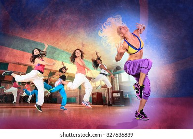 young women at aerobics or fitness training