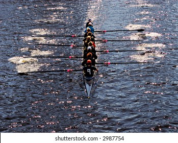 Young women athletes rowing boat. Teamwork concept