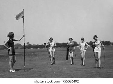 Young women in bathing suits golfing in Washington, D.C. vicinity. July 9, 1926.