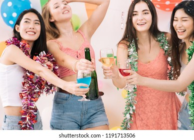 Young women to celebrate New Year's Day and enjoy the music, dance and drink. The girls dress charm fun with friends. Shopping for a car The colorful flags A white background.