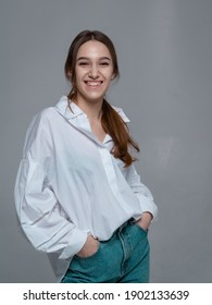 Young women in a different poses and clothes. Shooting in photo studio. December 2020, Kiew, Ukraine. Portraits