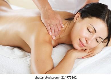 Young women having a back massage