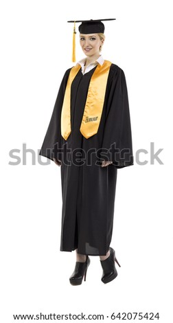 47e2d42408 Young Women Her Graduation Gown Isolated Stock Photo (Edit Now ...