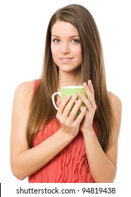 Young women holds green cup with a hot drink