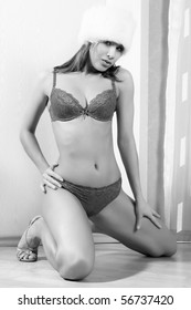 The young women in lingerie. Black and white photo.