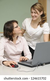 Young women in an office
