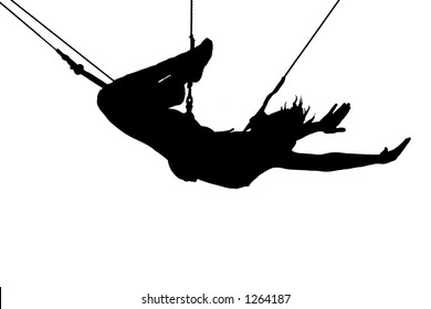 Young women on trapeze.