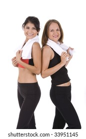 Young women on white background in a fitness pose
