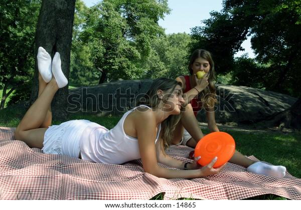 young women at picnic