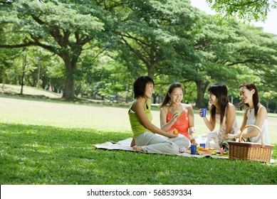 Young women picnicking in park