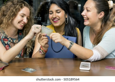 Young Women Shopping Credit Card Concept