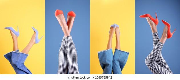 Mulheres jovens em sapatos elegantes em fundo de cor