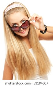 Young women in sunglasses, on the white background